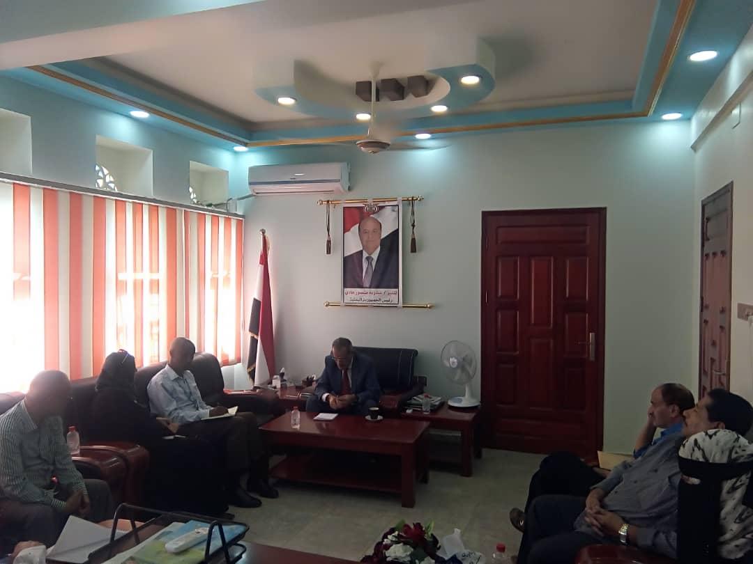 وزير التربية والتعليم د. عبدالله لملس يلتقي ممثل برنامج الغذاء العالمي(WFP) بعدن